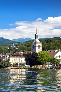 The town and church of Evian-les-Bains by Lake Geneva (Lac Leman), Rhone-Alpes, France, Europe