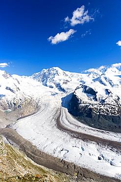 Gornergrat mountain range and Gorner glacier (Gornergletscher), above Zermatt in the Swiss Alps, Valais, Switzerland, Europe