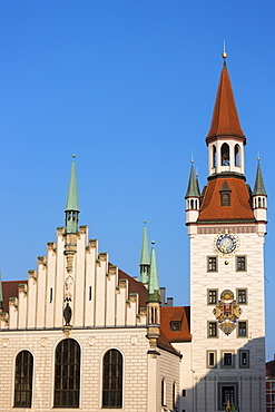 Clock tower of Altes Rathaus and Spielzeugmuseum  in Marienplatz in Munich, Bavaria, Germany, Europe