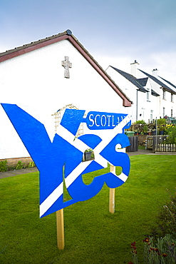 Scottish Referendum Independence Debate campaign poster as Saltire flag urging voters to give a YES vote for a separate nation for Scotland, Staffin, Scotland, United Kingdom, Europe