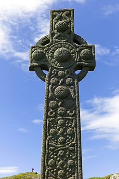 Traditional Celtic cross on Isle of Iona in Scotland, United Kingdom, Europe