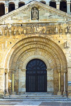 Doorway of Colegiata Santillana (St. Juliana's Collegiate Church) in Santillana del Mar, Cantabria, Northern Spain, Europe
