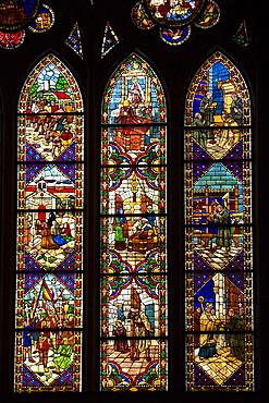 Stained glass window in Cathedral de Santa Maria de Leon in Leon, Castilla y Leon, Spain, Europe