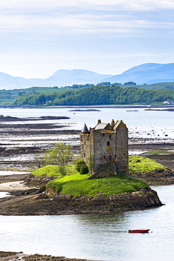 Stalker Castle on Loch Linnhe, 14th century Highland fortress of MacDougall clan, Appin, Argyll in the Highlands of Scotland, United Kingdom, Europe