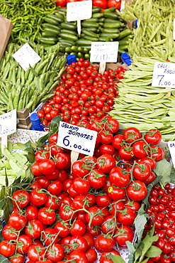 Fresh vegetables, tomatoes, peas and beans for sale at food and spice market in Kadikoy district on Asian side Istanbul, Turkey, Asia Minor, Eurasia