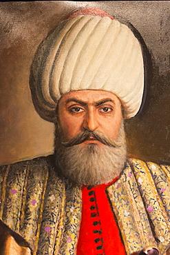 Portrait painting of Sultan Osman Bey (Osman I) (Osman Gazi), leader of the Ottoman Empire, Military Museum, Istanbul, Turkey, Europe