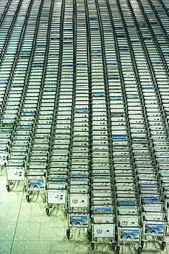 Generic shot of hundreds of luggage trolleys at an airport, United Kingdom, Europe