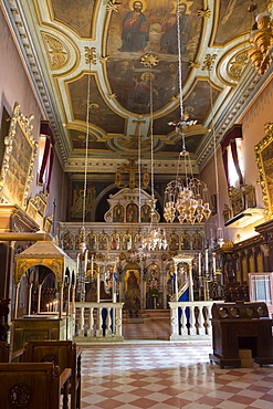 Ornate Greek Orthodox church with religious icons at Paleokastritsa Monastery, dating from the 13th century in Corfu, Greek Islands, Greece, Europe