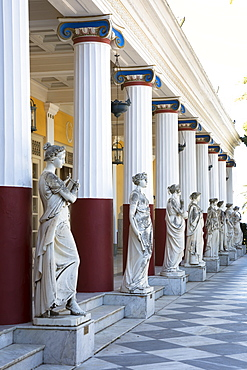 Stone statues at Achilleion Palace, Museo Achilleio, in Corfu, Greek Islands, Greece, Europe