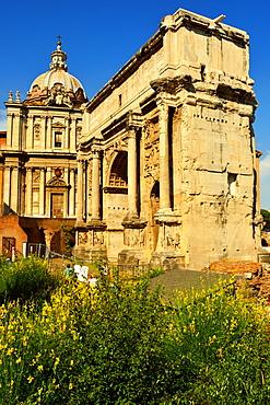Arch of Septimus Severus, St. Lucas and St. Martina Church, Roman Forum, UNESCO World Heritage Site, Rome, Lazio, Italy, Europe
