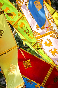 Thai New Year decorations blow in the wind, Wat Chedi Luang, Chiang Mai, Thailand, Southeast Asia, Asia
