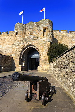 Cannon, Lincoln Castle, historic home of Magna Carta, Cathedral Quarter, City of Lincoln, Lincolnshire, England, United Kingdom, Europe