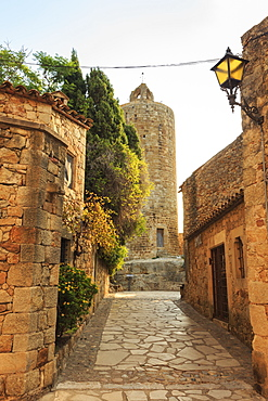 Tower of the Hours, castle remains in the gorgeous medieval hilltop walled village, Pals, Baix Emporda, Girona, Catalonia, Spain, Europe