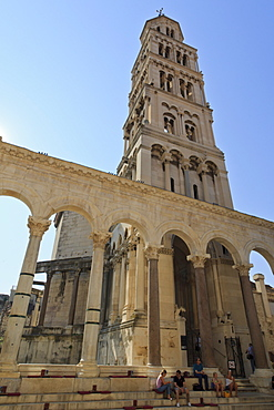 Tourists, Diocletian's Palace and bell tower of Cathedral of St Domnius (St Duje), Old town, Split, Central Dalmatia, Croatia