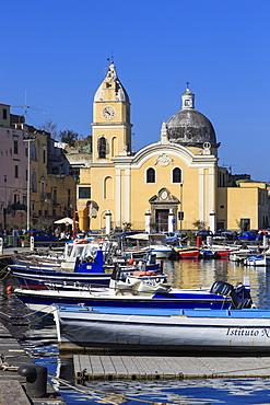 Procida Porto, Marina Grande boats and Santa Maria della Pieta church, Procida Island, Bay of Naples, Campania, Italy, Europe