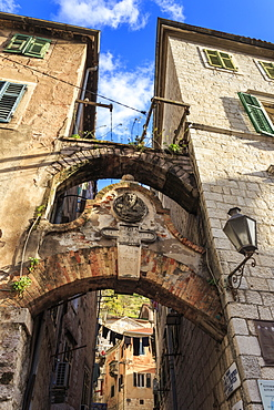 Old Town (Stari Grad), arch way with relief and hanging washing in an alley, Kotor, UNESCO World Heritage Site, Montenegro, Europe