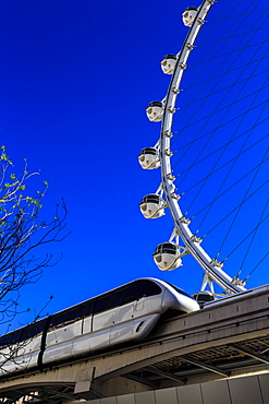 High Roller Observation Wheel section and monorail, LINQ Development, Las Vegas, Nevada, United States of America, North America