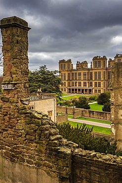 Old and new halls, Hardwick Hall, near Chesterfield, Derbyshire, England, United Kingdom, Europe
