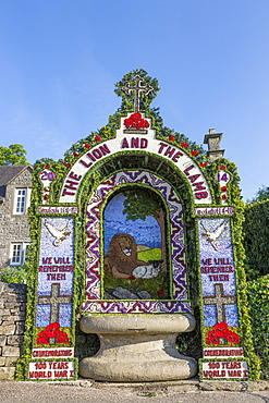 Hand's Well, Well Dressing commemorating the First World War, Tissington, Peak District National Park, Derbyshire, England, United Kingdom, Europe