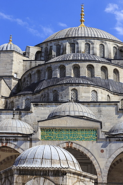 Blue Mosque domes under an intense blue sky, August afternoon, Sultanahmet, Istanbul, Turkey, Europe