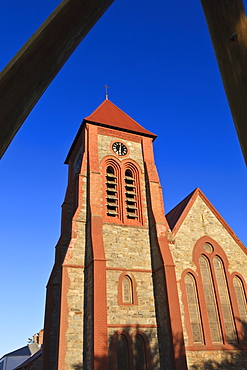 Christ Church cathedral and whalebone arch, Stanley, East Falkland, Falkland Islands, South America