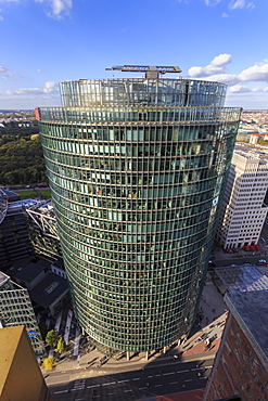 Elevated view, Sony Center Deutsche Bahn offices, from Panoramapunkt, Kollhoff Building, Potsdamer Platz, Berlin, Germany, Europe