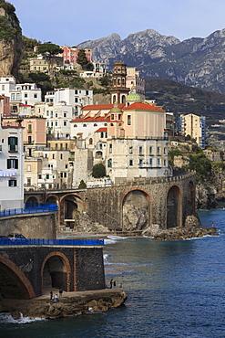 Church of Santa Maria Maddalena and coast road, Atrani, near Amalfi, Costiera Amalfitana (Amalfi Coast), UNESCO World Heritage Site, Campania, Italy, Europe