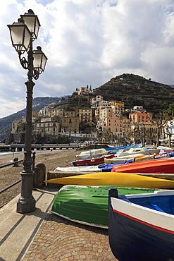 Minori, colourful boats on the  promenade with beach in early spring, Costiera Amalfitana (Amalfi Coast), UNESCO World Heritage Site, Campania, Italy, Europe