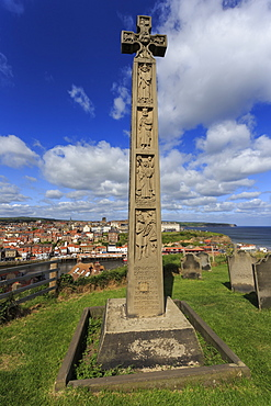 Caedmon's Cross in the Celtic style, St. Mary's Churchyard, Whitby, North Yorkshire, England, United Kingdom, Europe