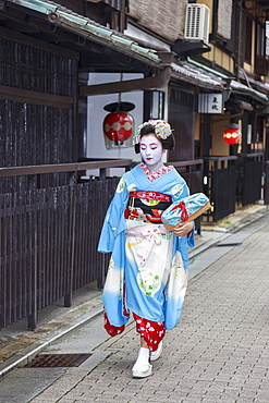 Maiko, apprentice geisha, walks to evening appointment past traditional wooden tea houses, Gion, Kyoto, Japan, Asia
