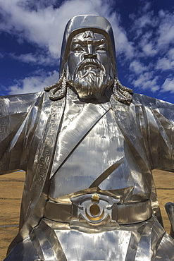 Huge silver stainless steel Chinggis Khaan (Genghis Khan) statue, Tsonjin Boldog, Tov Province, Central Mongolia, Central Asia, Asia