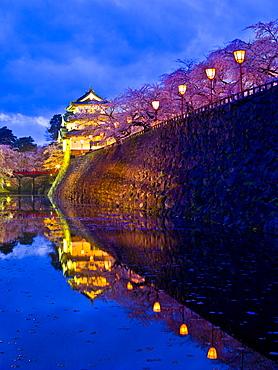 Castle And Cherry Blossoms, Hirosaki, Aomori Prefecture