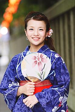 Young Japanese Woman in Summer Yukata