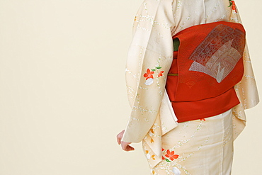 Midriff of Woman Wearing Obi