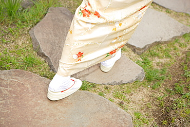 Woman Wearing Geta And Tabi