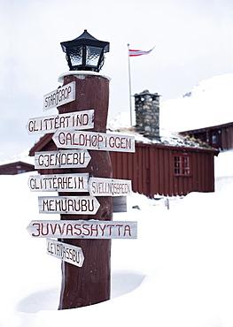 Signpost in Norway