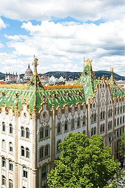 Art nouveau architecture by vñdv?n Lechner 'Äì the colourful pyrogranite roof of the former post office bank, Bundapest, Hungary