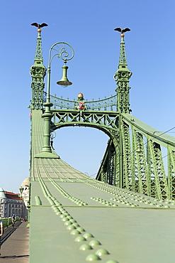 The Liberty Bridge with Turuls on the masts, Budapest, Hungary