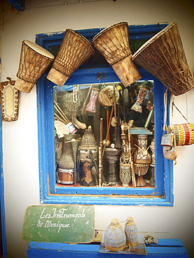 Handicrafted musical instruments for sale in the Medina of Essaouira, Morocco