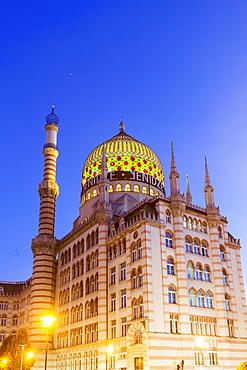 The former tobacco factory Yenidze in Dresden, the colourful dome is modelled on a mosque