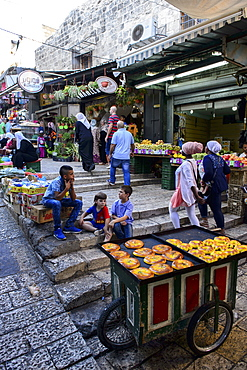 The Muslim quarter in the old town of Jerusalem, Israel