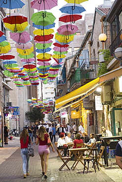 Umbrellas hanging in the Russian quarter, Jerusalem, Israel