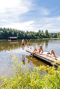 A family from Munich bathing at Hackensee, Bavaria