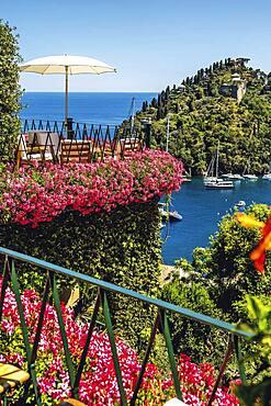 The terrace of the legendary 'Hotel Splendido' in Portofino, Liguria, Italy