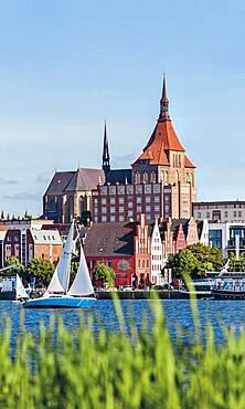 Rostock harbour with St Mary's Church, Germany
