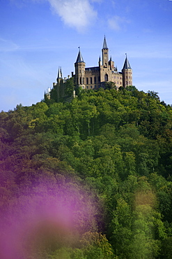 View of Hohenzollern castle and Zoller mountains, Bisingen, Baden-Wurttemberg, Germany