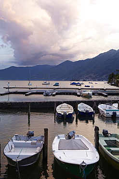 View of boats moored in harbor of Ascona on Lake Maggiore, Ticino, Switzerland