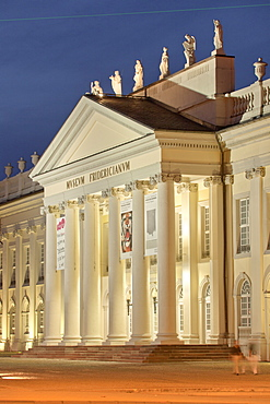 Facade of Fridericianum illuminated in evening, Kassel, Hessen, Germany