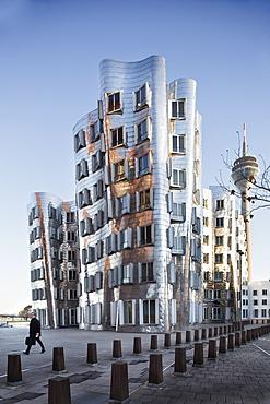 Dancing office towers in New Zollhof, Dusseldorf, Germany