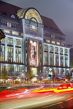 View of Kaufhaus des Westens and traffic at night, Wittenbergplatz, Berlin, Germany
